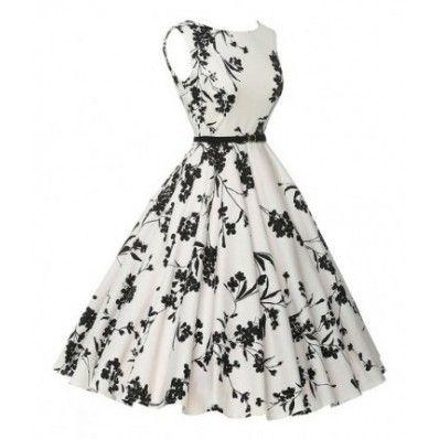Black fashion flower pattern Hepburn style sleeveless vest retro dress