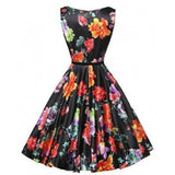Sleeveless black bright flower pattern plus size dress