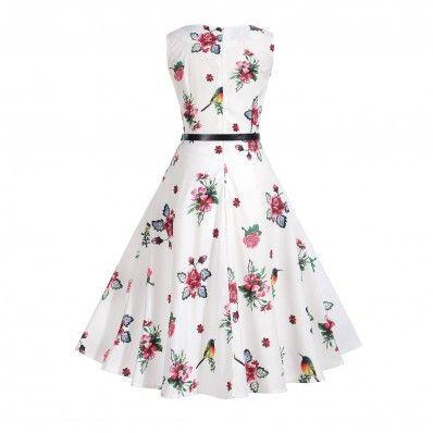 White fashion cute Waist Thin Printed Plus size Dress