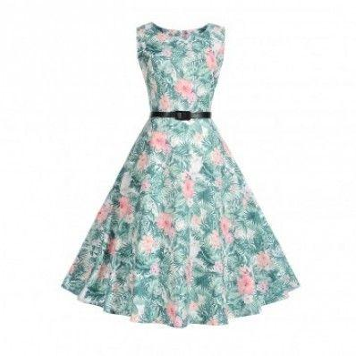 Vivid pretty charming style Waist Thin Printed Plus size Dress