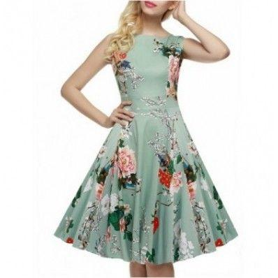 Green Round neck sleeveless print cute summer plus size dresses