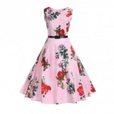 Pink attractive Bright pattern plus size dress