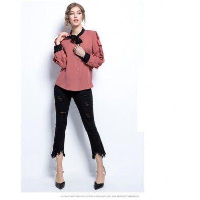 Fashion hit color stitching long-sleeved t-shirt