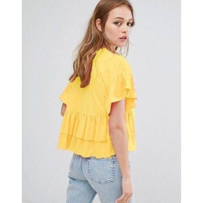 Women's yellow loose round neck knit short-sleeved top