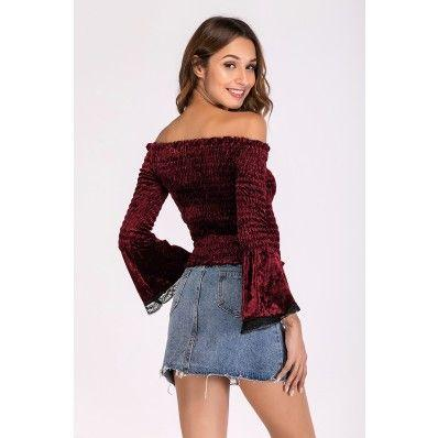 Autumn Wine red and dark blue one-neck pleated lace stitching long-sleeved T-shirt