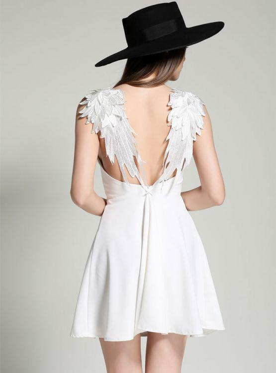 Summer fashion lace backless sexy white little dress