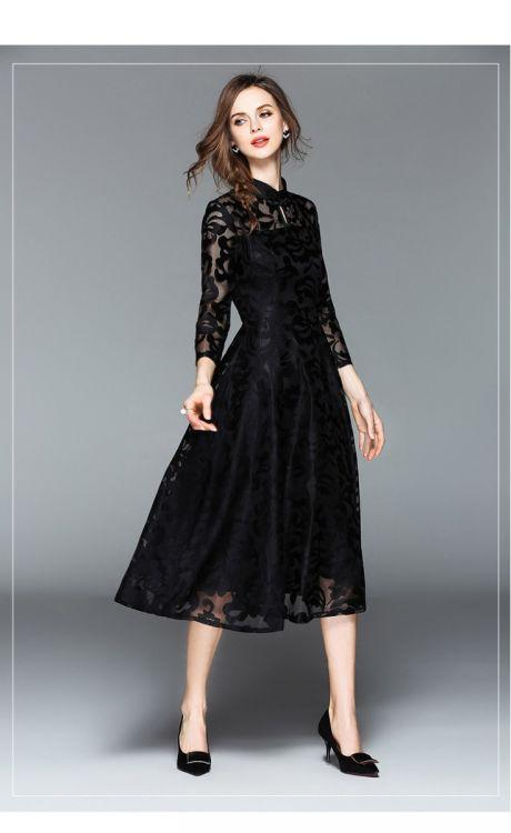 Stand Collar Lace Red Black Blue Dresses For Women