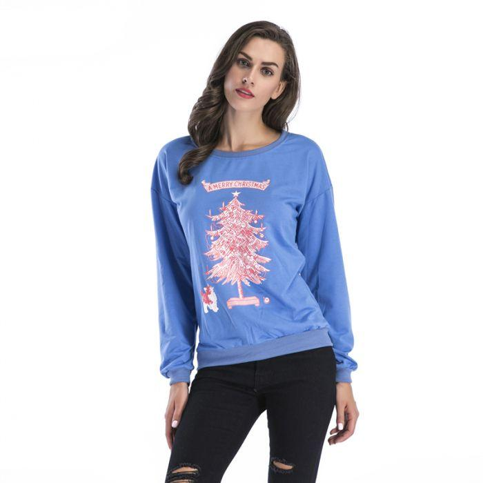 Online Clothing Boutiques Blue Gray Christmas Tree Print T-shirt Female