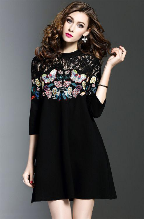 Butterfly Embroidered Embroidered Lace Cropped Sleeve dress