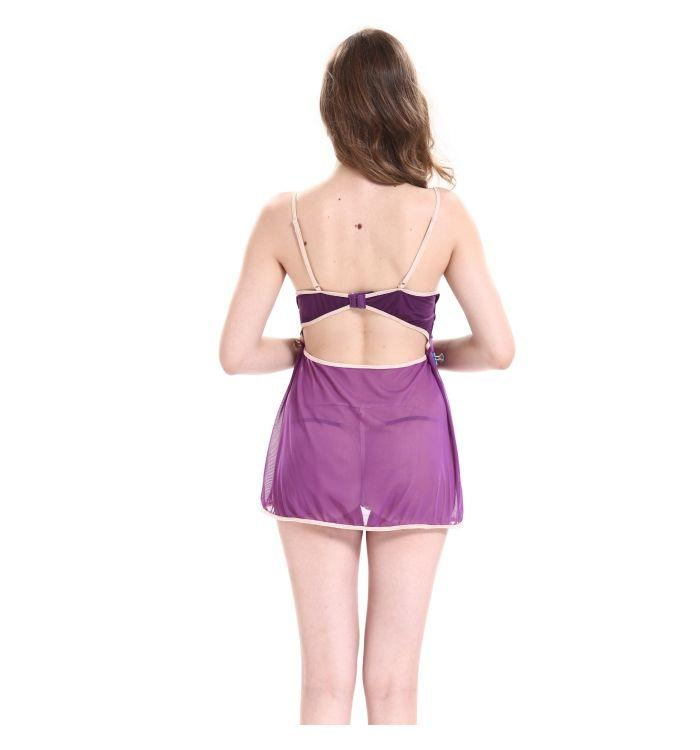Women's purple gauze sexy suspenders plus size Lingerie