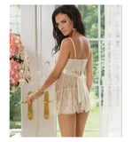 White sexy plus size transparent suspender lace nightdress