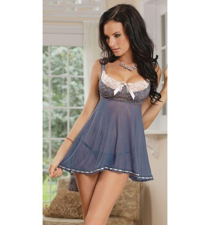 Grey sexy perspective bud silk gauze nightdress plus size lingerie