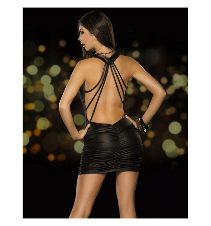 Black Red Night club bar fashion backless bag hip leather skirt