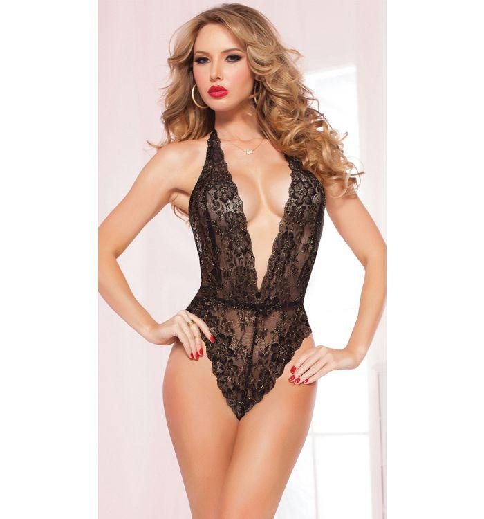 Black Red Elastic lace transparent taste temptation sexy teddy lingerie