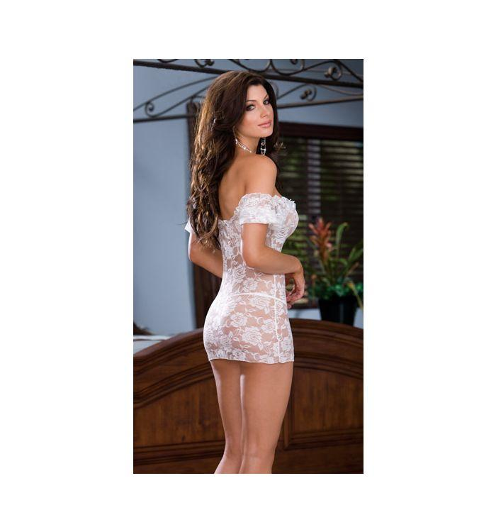 Sexy word collar tight-fitting perspective strapless temptation skirt nightdress