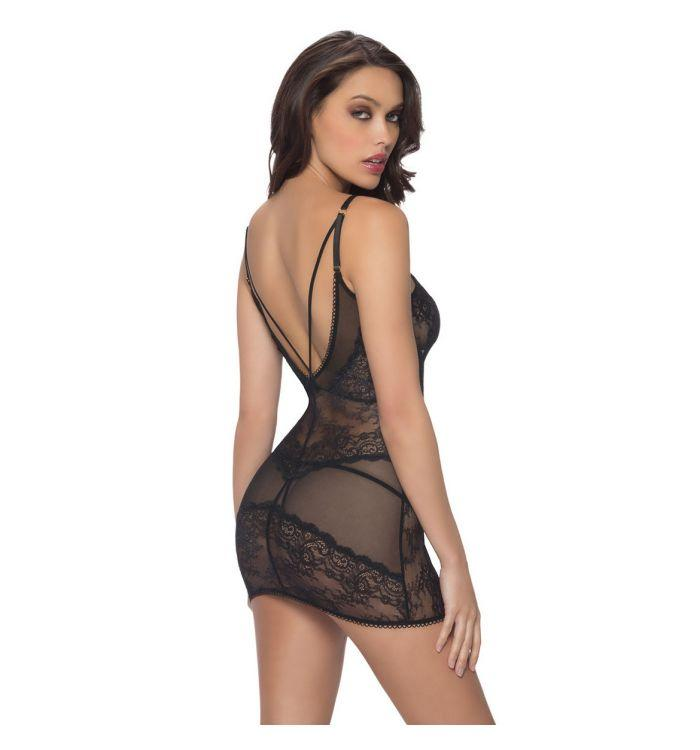 Deep V lace pattern translucent Siamese hip teddy lingerie