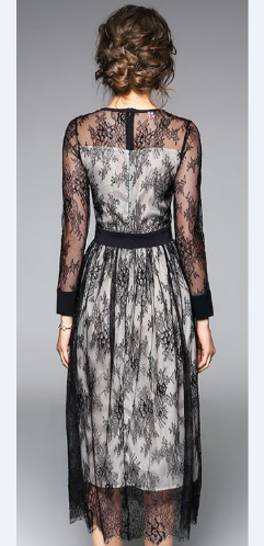 Spring Perspective Long Sleeve Lace Sexy Maxi Dress