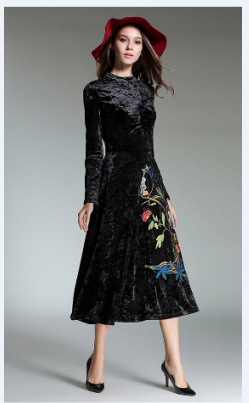 New high-end elegant long embroidery slim vintage dress