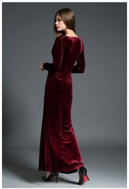 Beautiful elegant temperament elegant grab pleated mop velvet dress