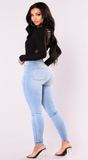 High waist white tight-fitting stretch pencil feet woman jeans