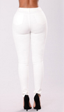 Embroidered pattern hole white stretch female jeans