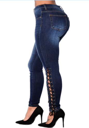 Export personality bandage  stretch woman plus size jeans