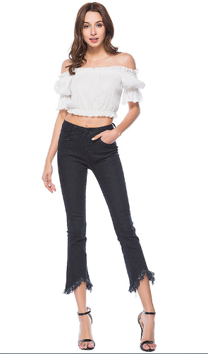 Personality stretch tassel speaker slim female jeans