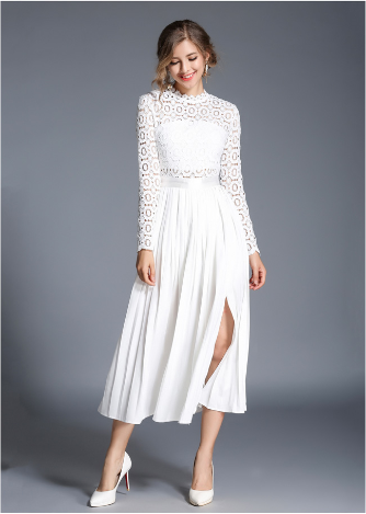 Pleated hook flower hollow water soluble lace stitching little white dress