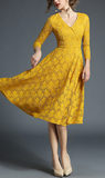 Elegant apricot pink yellow medium long section lace dress