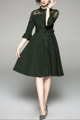 Elegant army green mesh embroidery long temperament dress
