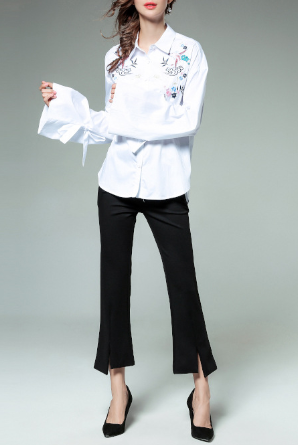 Autumn high-end heavy embroidery embroidered fashion women's shirt
