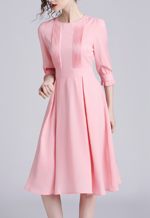 Autumn round neck pleated fashion long pink plus size dress