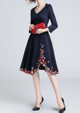 Autumn fashion three-dimensional cut plus size dress