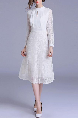 Autumn fashion Vintage lace Long Sleeve Little White Dress