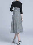 Autumn winter fashion Sleeve waist round neck lace dress