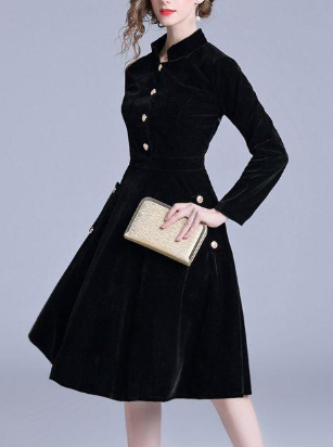 Beautiful fashion stand collar single-breasted long-sleeved black dress