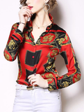 Fashion positioning printed lapel long sleeve wild white collar shirts
