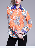 Fashion printed lapels single-breasted woman blouse