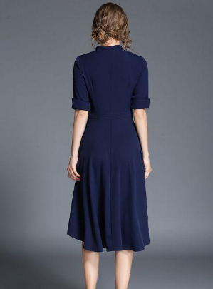Fashion square collar single-breasted long section dress