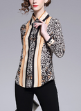 Fashion temperament color matching leopard print woman shirt top