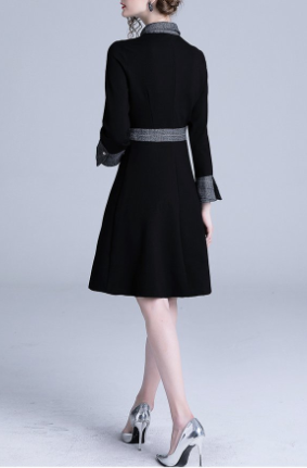French retro doll collar black streamer solid color long sleeve midi dress