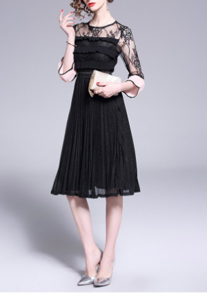 High-end new color matching lace lotus leaf pleated elegant dress