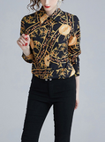 Hot sale printed slim long sleeved lapels woman shirts