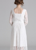 Lace retro fresh temperament long sleeve pleated little white dress