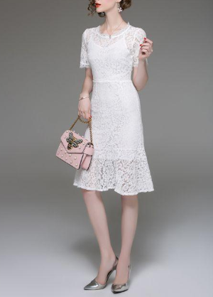 Lace round neck short sleeve plus size little white dress