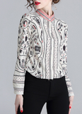 Long sleeve printed slim temperament chiffon woman shirts