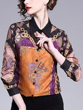Long sleeve unique print pattern fashion woman shirts