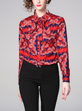 Long sleeved versatile fashion lapel design slim printed woman shirts