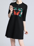 Round neck sleeves loose slim elegant temperament embroidered dress
