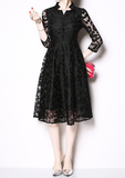 Slim-fit cropped sleeves elegant lace mid-length little black dress